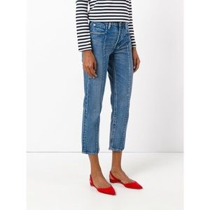 Levi's Altered   Distressed Straight Ankle Jeans